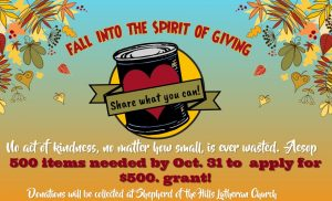 Food Drive now until Oct. 31