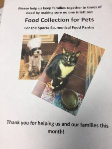 Pet Food Collection for Sparta Ecumenical Food Pantry